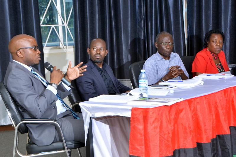 a panel discussion comprised of Prof. Goretti Nassanga, Prof. Fredrick Jjuuko, and Daniel Kalinaki; and moderated by Charles Mwanguhya.