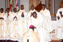 Newly ordained priests blessing His Grace Dr Cyprian Kizito Lwanga the Archbishop of Kampala
