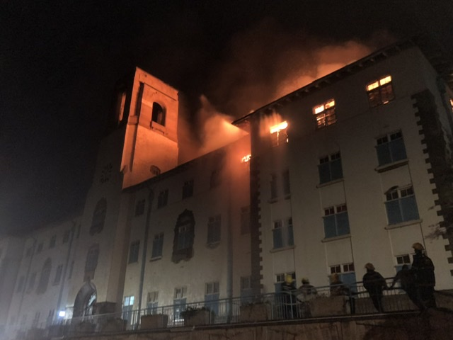 Breaking News – Massive fire has burnt down a 79-year-old Makerere University Main Administration building in Kampala Uganda.