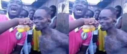 Angry youths give a thief an energy drink so that they can beat him again