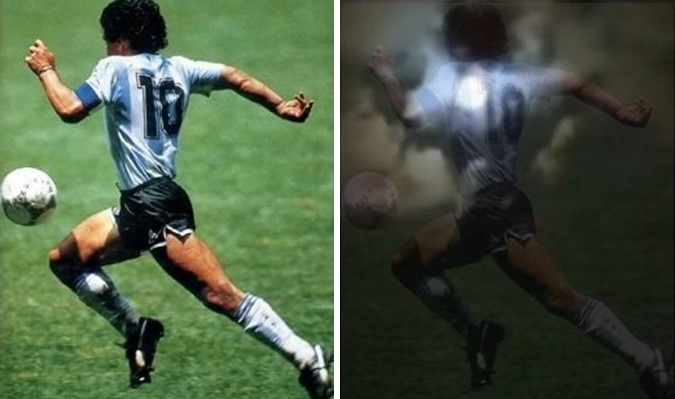 Diego Maradona's Photos appear in the sky a few hours after his death