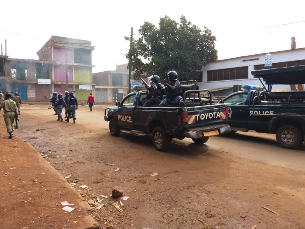 Jinja City residents protest against the closure of shops and arcades